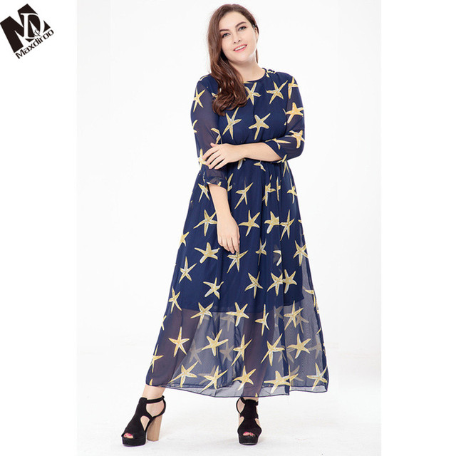 Maxdiroo 2018 Women Dress Print Party Dress Women Plus Size Long Sleeve  Causal Dress Long Maxi Dresses for Women 4XL 5XL 46c3d8de1fd6