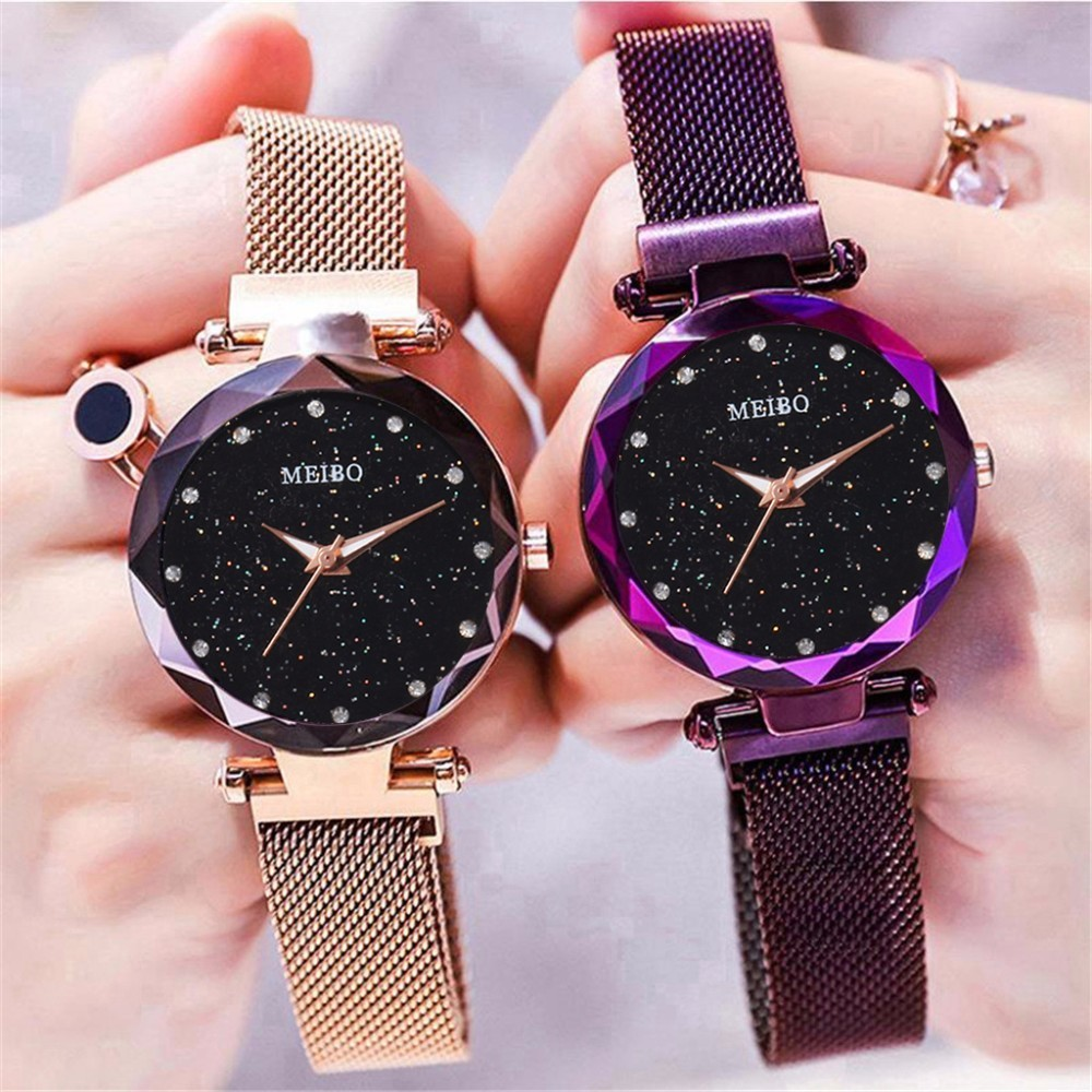 Best Selling Women Mesh Magnet Buckle Starry Sky Watch Luxury Ladies Geometric Surface Quartz Watch Relogio Feminino