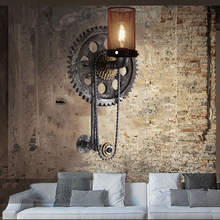 loft vintage water pipe wall lamp,Gear Chain wall sconce bra wall light,living room bedroom aisle stair restaurant pub cafe lamp retro chinese wall lamp wall sconce antique wood parchme stair aisle corridor bedroom living room cafe lamp e27 wall light bra