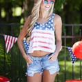 ON SALE 2016 SUMMER Fashion women's casual loose sleeveless o-neck tops The American flag printing short tank tops 1526263124