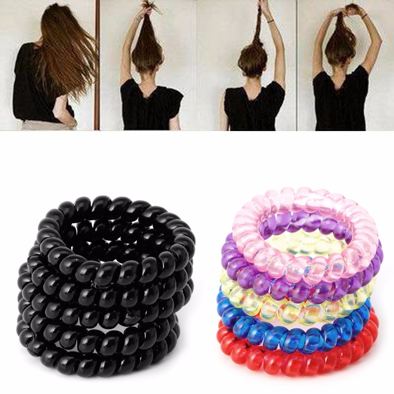 5pcs Elastic Girl Rubber Telephone Wire Style Hair Ties Plastic Rope dakine mia