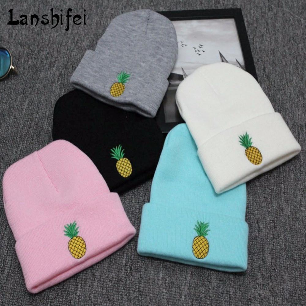 Embroidered Pineapple Pattern Knitting Woolen Hat   Skullies     Beanies   Wool Knitted Hats Winter Autumn Casual Unisex   Beanies   Hats
