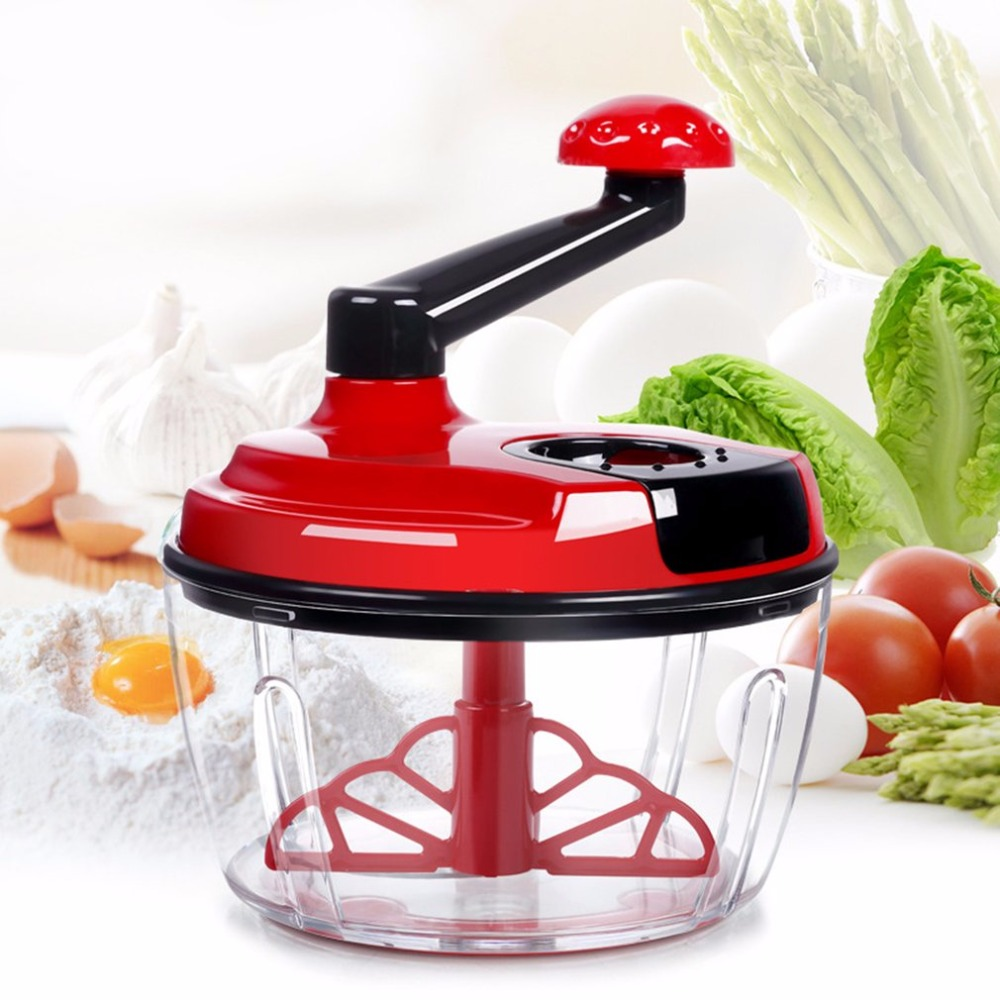 Mulit-use Hand-operated Meat Mincer Manual Vegetable Slicer With Cover Kitchen Tool Stainless Steel Grinder Food Cutter lucog 900ml food grinder mincers for meat vegetable spice manual meat grinders stainless steel blade for kitchen moedor de carne