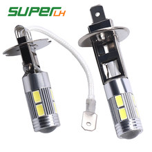 1Pcs H1/H3 LED Super Bright White 10SMD 5630 Replacement Bulbs For Car Fog Lights Daytime Running Lights DRL Lamps Accessories(China)