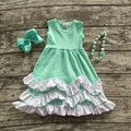 2016 new baby clothes girls summer  hot sell sleeveless dress mint green kids boutique outfits ruffles with necklace and bow set