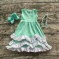 2016 nueva ropa del bebé del verano de las muchachas venta caliente vestido sin mangas menta verde kids boutique trajes volantes con el collar y el arco conjunto