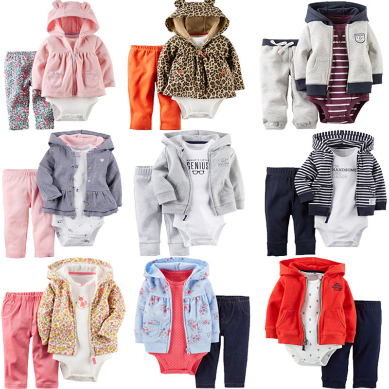 3pcs Baby Boys Clothing Sets Hooded Coat+Long Sleeve Print Rompers+Pants Baby Girls Clothes 6M-24M Bebes Costume