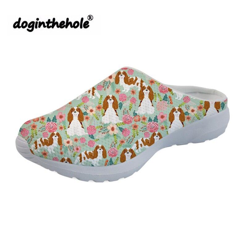 Cavalier King Charles Spaniel doginthehole Impressão Esporte Sandálias para As Mulheres Chinelos de Praia Sapatos 2019 Esportes Ao Ar Livre Fêmea Plana