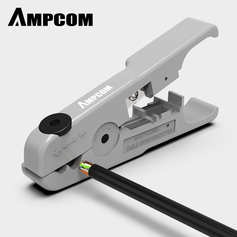 AMPCOM  Cable Wire Stripper Compression Tool Coaxial Cable Stripper, Round Cable , Cutter And Flat Cable Stripping Tool