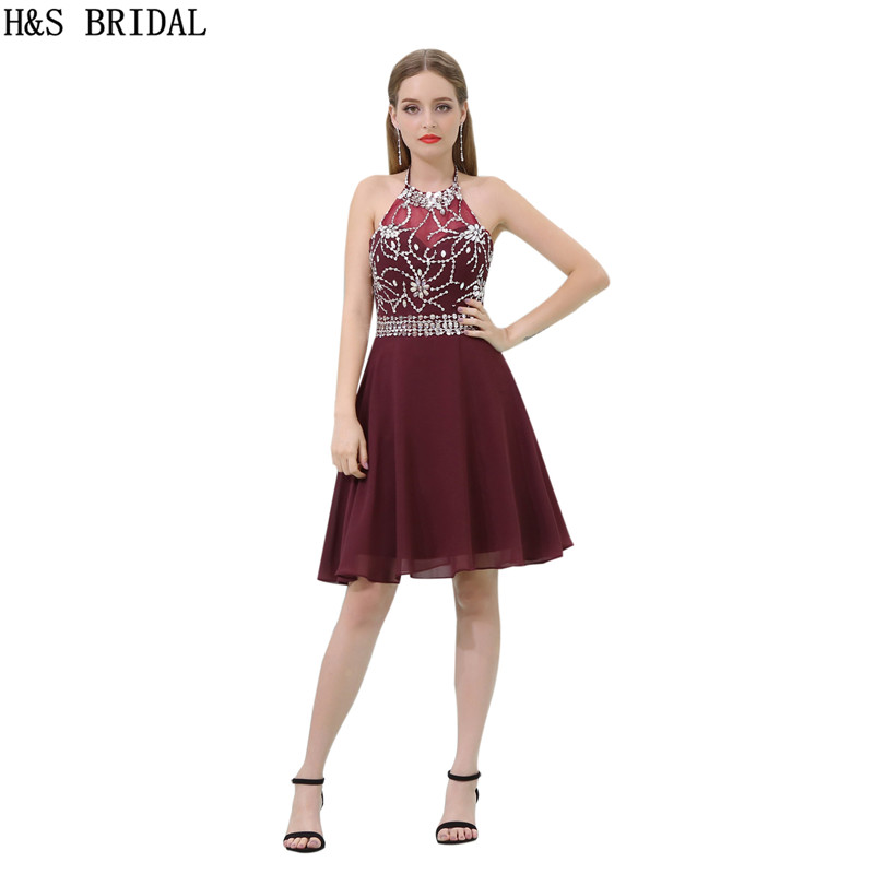 H S Burgundy chiffon cocktail dress Halter Crystal Beaded Cocktail Party Knee length cocktail dresses robes