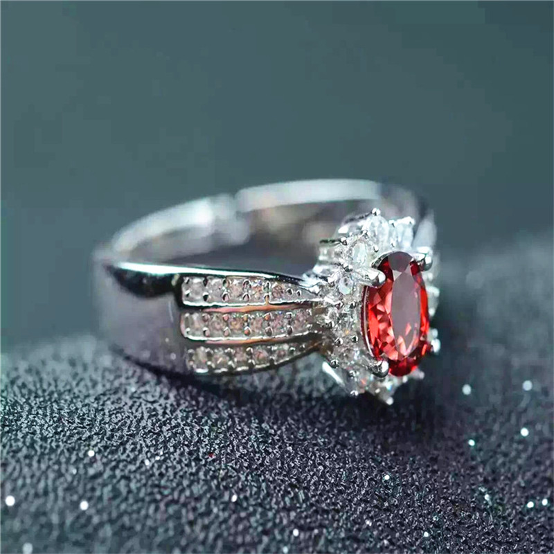Promotion Solid 925 Sterling Silver ring fashion design natural garnet ring for lady silver garnet jewelry for engagement gift