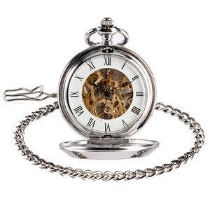 Image 5 - Steampunk rússia soviética foice martelo comunismo emblema mão enrolamento mecânico relógio de bolso à moda do vintage pingente corrente presentes