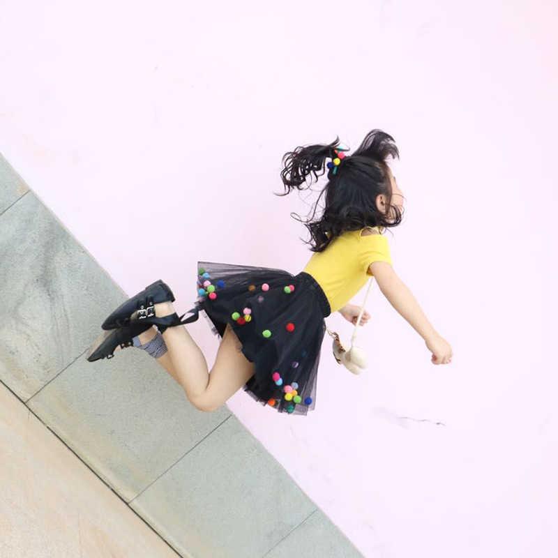 2019 夏のベビーチュールチュチュスカートカラフルな王女レインボーボールミニドレス子供服ペチコートガール服ドット