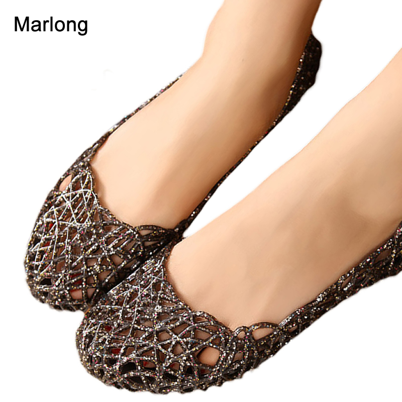 Marlong Women's Sandals Summer Women Shoes Jelly Sandals Casual Jelly Tenis Feminino Mesh Flats Sandalias Femininas marlong women sandals summer new candy color women shoes peep toe stappy beach valentine rainbow jelly shoes woman