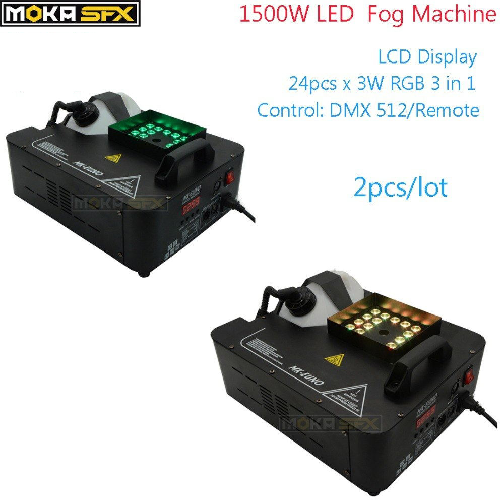 2 Pcs lot 1500w dmx stage Smoke machine LED DMX512 Upward spraying Fog machine led rgb