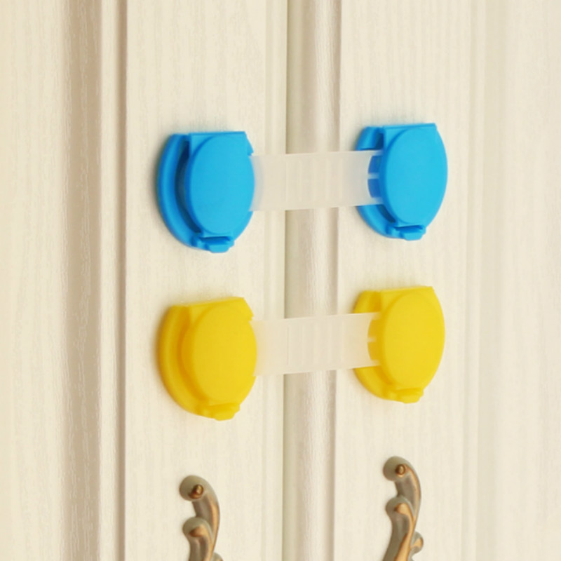 30psc/lot Pure Colour Baby Prevent Clamp Hand Drawer Lock Children Flexible Cabinet Door Paste Safety Lock 10cm*3.5cm