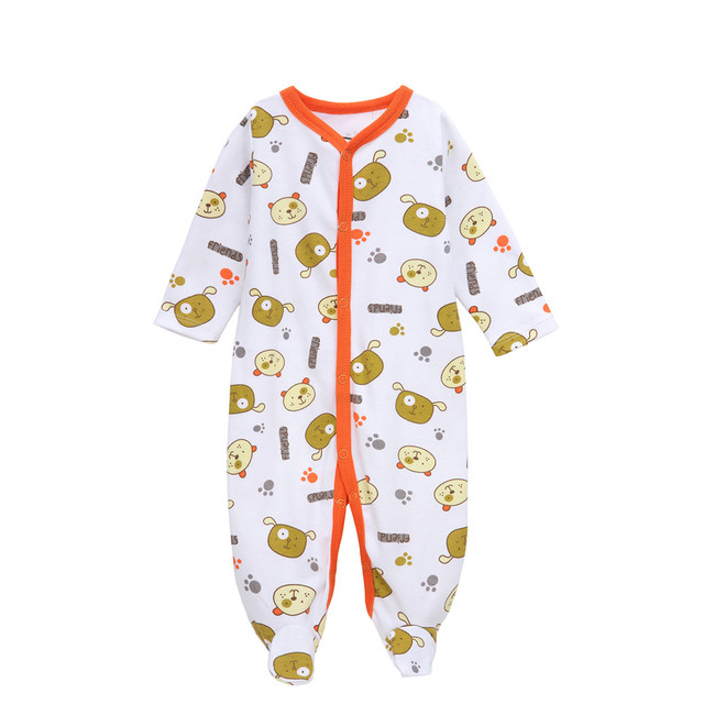 4de9a1ec9 Brand Baby Boy Footed Pajamas Soft Cotton Long Sleeve Jumpsuit Footie  Unisex Onesies Snap Printed Coverall Neutral Sleeper Suit