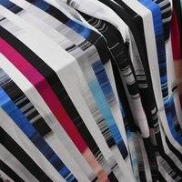 New Design Colorful Stripe Heavy Silk Chiffon Fabric With 100% Silk Material