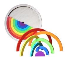 14Pcs/Set Colorful Wooden Blocks Toys For Children Creative Rainbow Assembling