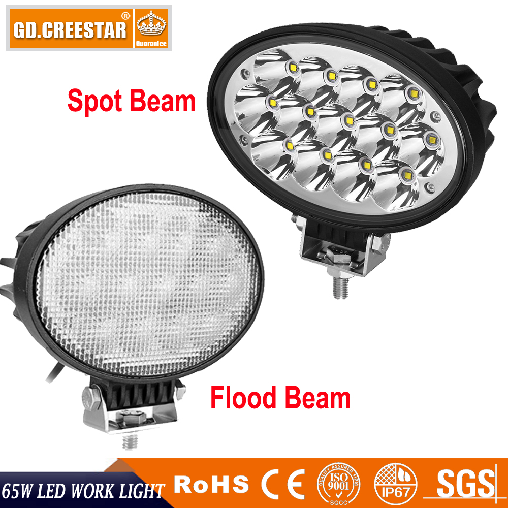 65W 6.5inch 6.5 Oval Led work light driving light 12V 24V projector lens For truck ATV UTV 4x4 4wd offroad tractor lights x1pc