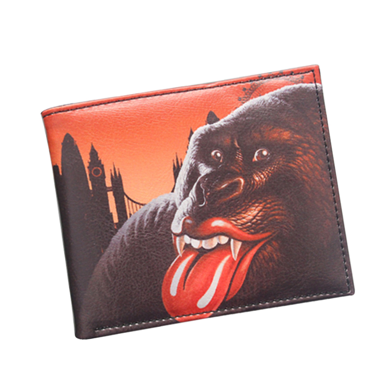 Sexy Lips American Rolling Stone Anime Wallets short Mens Women purse Leather Purse Money bolsa 3 Cards Holder billeteras Boys