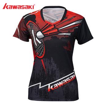 Kawasaki Original Women Sportswear ubrania do badmintona koszule V-Neck oddychająca koszulka do gry w tenisa dla kobiet ST-S2105 tanie i dobre opinie Krótki Pasuje prawda na wymiar weź swój normalny rozmiar Oddychające Poliester Red Gray 92 4 Polyester 7 6 Spandex