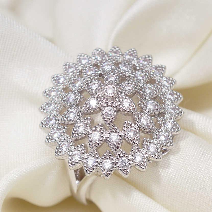 คลาสสิกสีขาว Gold Plant แหวน Cubic Zircon แหวนเรขาคณิตสำหรับผู้หญิงงานแต่งงานของขวัญเครื่องประดับ Dropshipping