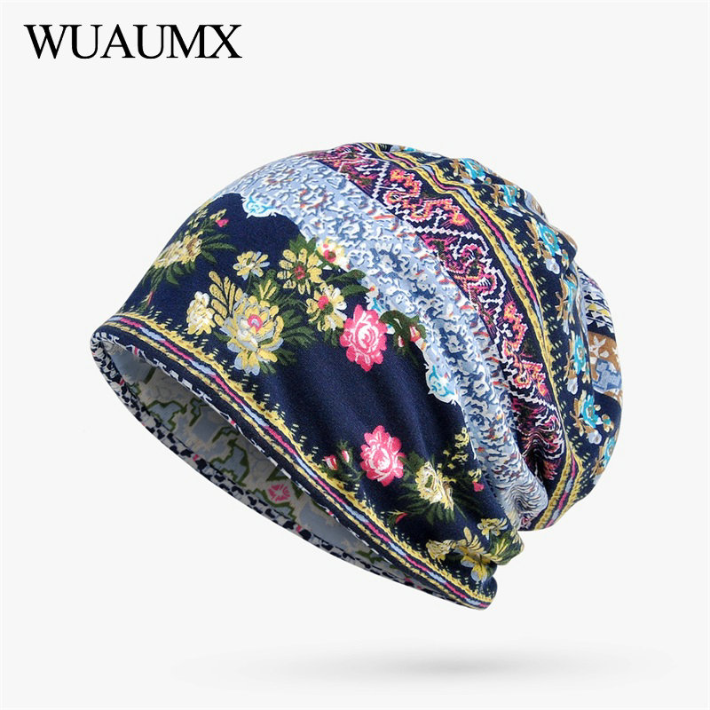 Wuaumx Spring Summer   Beanies   Hats For Women Thin Cotton   Skullies     Beanies   Flower Turban Hats Street Hip Hop Hedging Cap Female