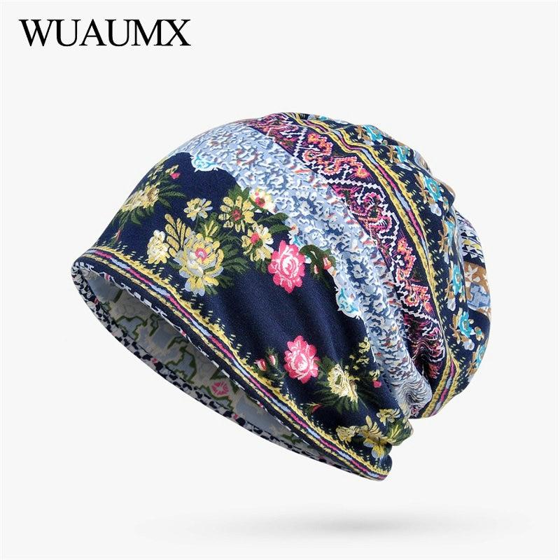 Wuaumx Spring Summer   Beanies   Hats For Women Thin Cotton   Skullies     Beanies   Flower Turban Hats Street Hip Hop Hedging Cap Female