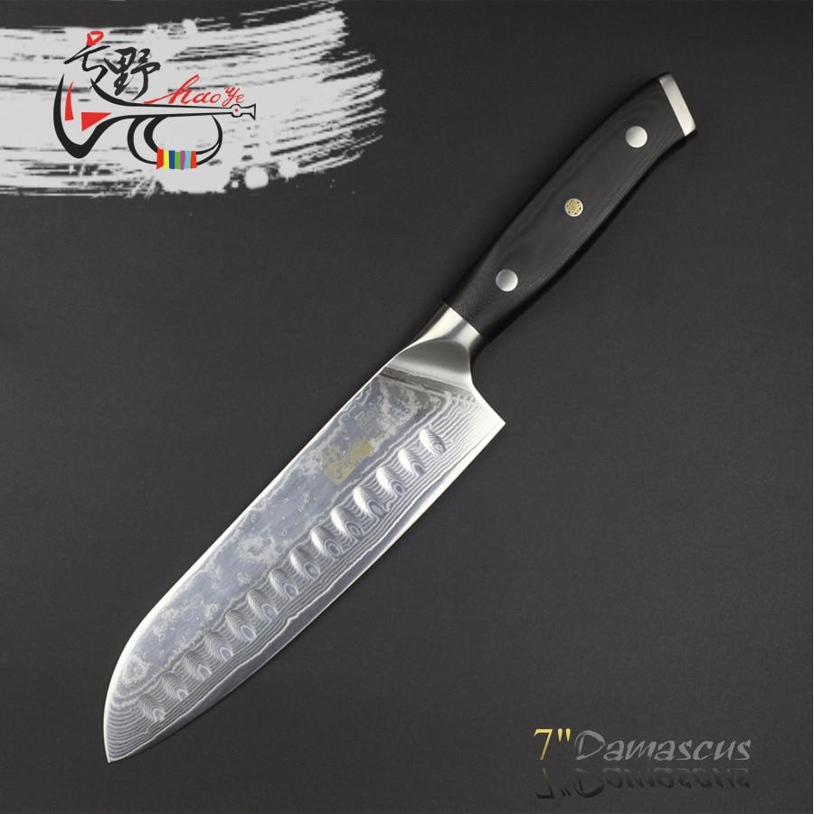 HAOYE 7 pouce damas couteau santoku Japonais vg10 acier cuisine couteaux g10 poignée avec rivets polyvalent couverts 2018 NOUVEAU