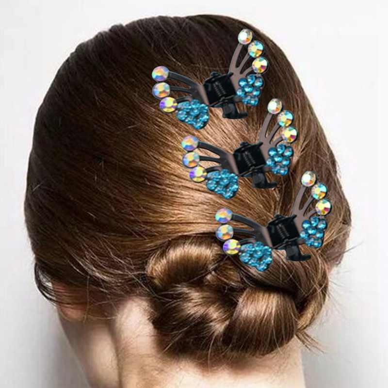 1 יח'\סט פריחת שזיף בצורת שיער קליפים עבור נשים אופנה בנות שיער אביזרי 2018 ילדים קריסטל פרפר סיכות שיער טפרים