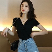 2019 New Solid Color Summer T-Shirts Women Fashion V-Neck Twist Knot Short Sleeve T Shirts Ladies Korean Casual Tops Clothing