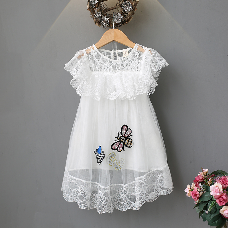 2018 girls lace dress applique petal ruffle sleeve o-neck sexy transparent solid summer fashion mini girls lace dress white berrygo v neck striped v neck sexy dress women drawstring ruffle red bodycon dress summer knitted nightclub short dress female