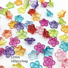 Meideheng Flowers Shape Beads Acrylic Transparent DIY Beads For Jewelry Making Handmade Crafts Accessories 12mm 160pcs/bag