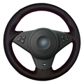 Black Artificial Leather Car Steering Wheel Cover for BMW E60 530i E63 E64 635D