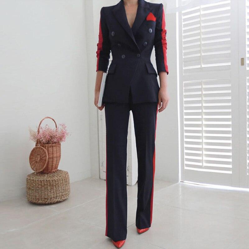 2019 Women's Pant Suit Spliced Blazer Coat And Wide Leg Pants 2 Piece Set Women Long Sleeve Slim Business Office Suits Trouser