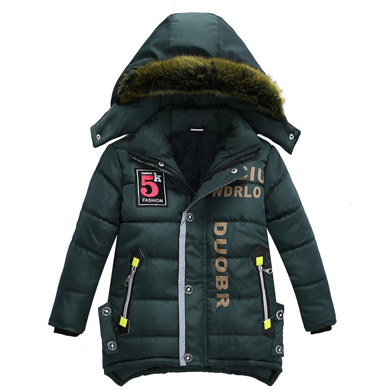 От 3 до 6 лет Детская одежда Детские пальто зима стиль с принтом букв теплая куртка из хлопка для мальчиков куртка с капюшоном