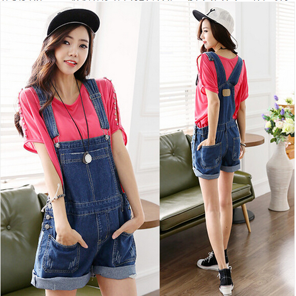 Fashion European Style Women Hole Denim Short Jumpsuit Overalls Women Short Jeans Casual Shorts Feminino
