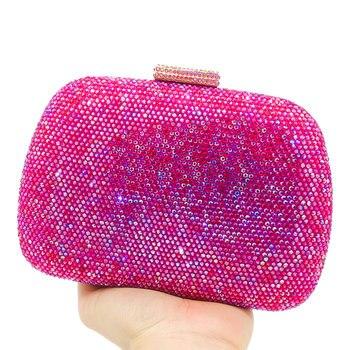 Bolsos De Cuero Rojo | Boutique De FGG Deslumbrante Diamante Rosa Caliente Bolsos De Noche Boda Cóctel Graduación Bolso Y Monedero Mujeres Cristal Embrague Bolso De Mano