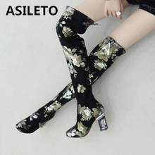 8b0b3d5ccda ASILETO Brand over the knee boots women strange style autumn winter thigh  high boots shoes woman botas botte print flower B1103