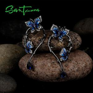 Image 5 - SANTUZZA Silver Earrings For Women Genuine 925 Sterling Silver Blue Butterfly Earrings Glamorous Fashion Jewelry Handmade enamel