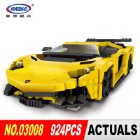 XingBao 03008 Block 924Pcs Creative MOC Technic Series The Yellow Flash Racing Car Set Educational Building Blocks Bricks Toy
