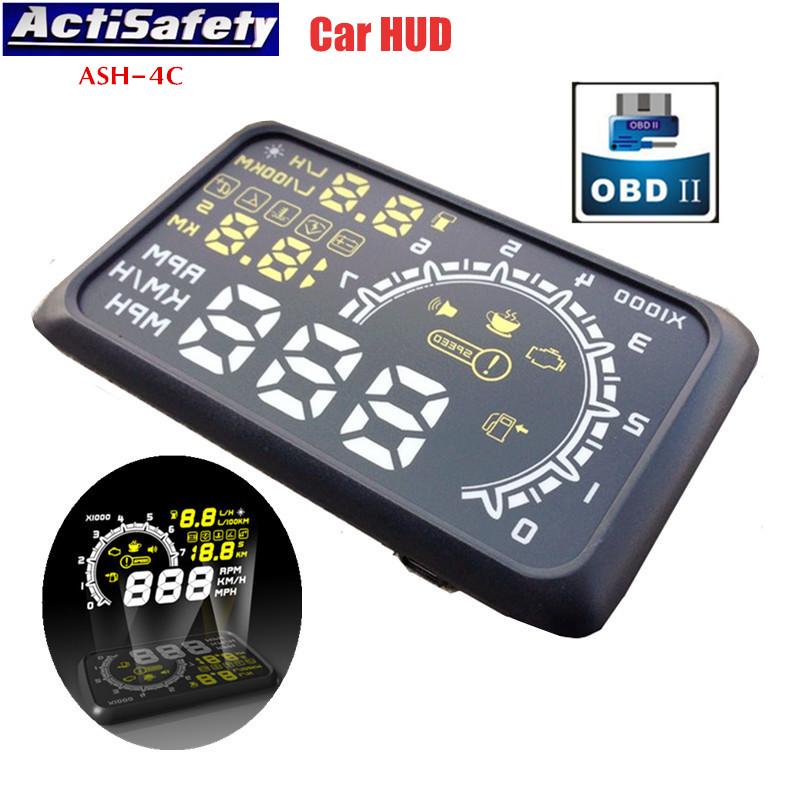 """Prix pour ActiSafety 5.5 """"écran Auto OBDII Voiture HUD OBD2 Port Head Up Display KM/h MPH Survitesse Avertissement Pare-Brise Projecteur Système D'alarme"""