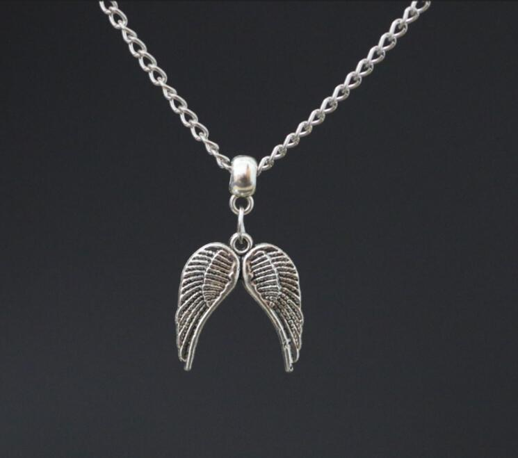 Vintage Ancient Silver Guardian Double Angel Feather Wings Charms Alloy Pendant 18 Chain Necklace ~ Christmas Gift