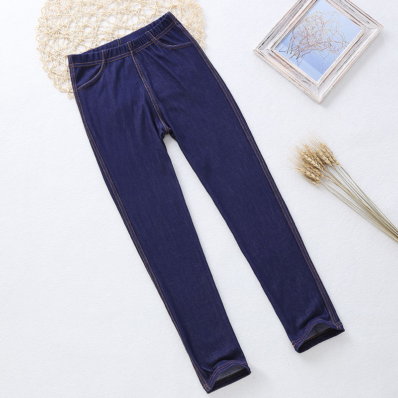 Spring Summer Girls Elastic Skinny Pants Solid Color Kids Stretch Trousers 3-12Yrs Children Lmitation Denim Fabric Jeans Pants 3