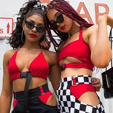 Women Sexy Solid Crop Top Red Black Snake Summer Fashion Tank Top Bustier Bra Vest Crop Top Halter Neck Front Buckle Camis New pineapple print crop halter top
