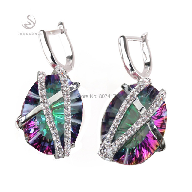Casual  White Cubic Zirconia  and Rainbow Mystic stone  Fashion  jewelry  Silver Plated  Earrings R3314