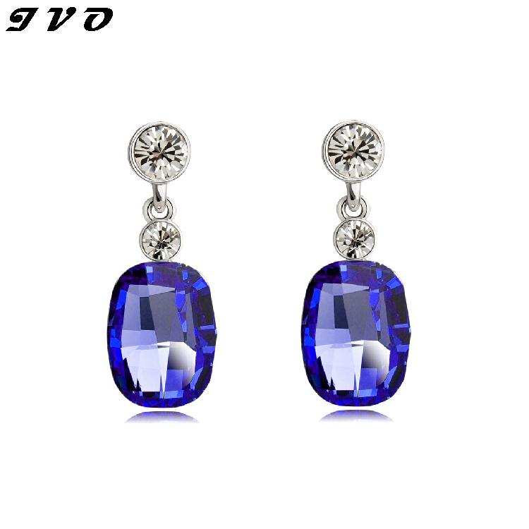 Party Dangle Earrings For Teen White Gold color font b Women b font Wedding Crystal CZ