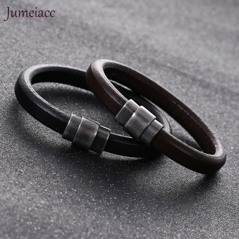 Jumeiacc 2017 Trendy Black & Brown Men Bracelets & Bangles Steampunk Tube Charm Gothic Top Leather Bracelets Couple Gifts F152
