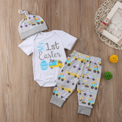 be0ae5c15 Cute Baby Easter Outfits Newborn Infant Boy Girl Bodysuit Pants Hat Summer Clothes  Baby Clothing